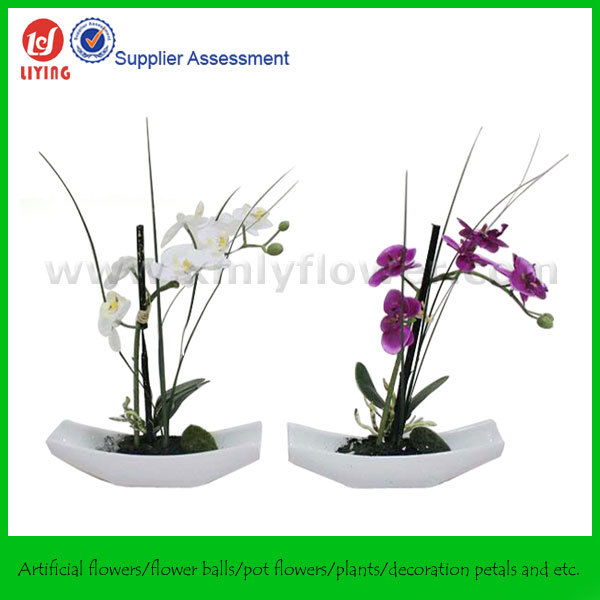 "27.5"" potted decorative artificial flower orchids,artificial orchid"