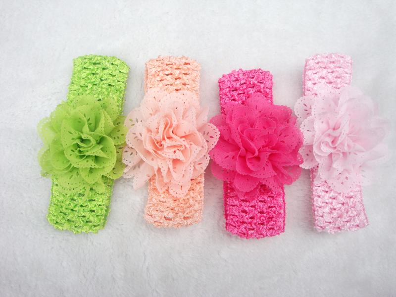 Promotion 10pcs lot Chiffon Lace Flower Crochet Headband Baby Girls Dress Up Head band 11 color