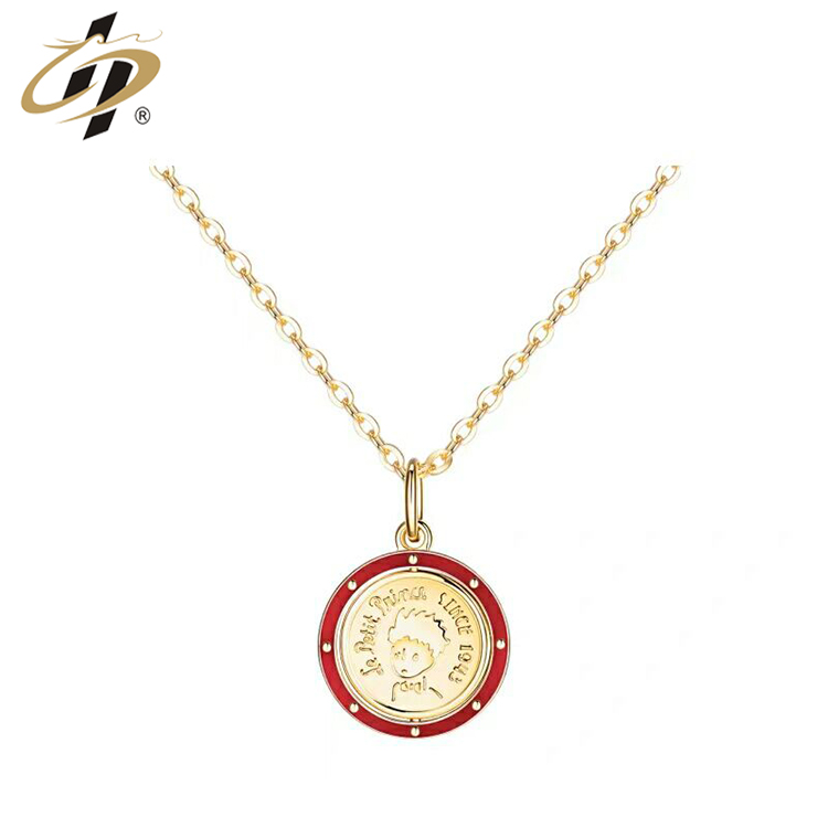 Source manufacturer customization vintage fashion classic avatar necklace red enamel gold plated pendant