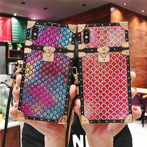 Luxury Square Fish scales sparkling case For iPhone Xs Max X 7 8 6 Women Elegance Messenger Case