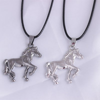 Trendy Running Horse Pendant Necklace Leather chain