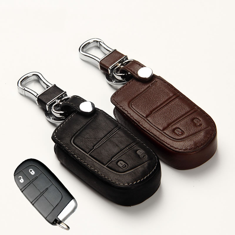 Genuine Leather Car Key Cover Key Case for Jeep Grand Cherokee Renegade 2014 2015 Chrysler 300C