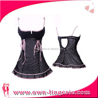 Black cute should-straps laciness with pink strips skirt 3173