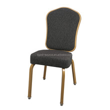 China wholesale cheap price gold aluminum steel 5 stackable hotel banquet hall chairs