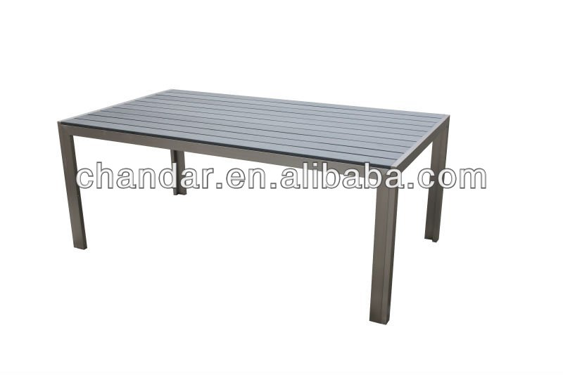 product detail outdoor garden brushed aluminum polywood table