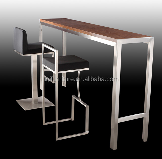 High Quality Brushed Stainless Steel Bar Table With Tempered Top Or Wood Lq Bt102