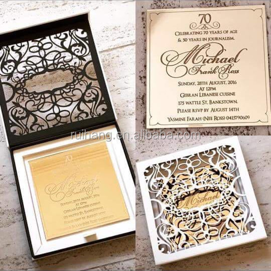70 or Miroir Acrylique Mariage Invitations Avec Enveloppes