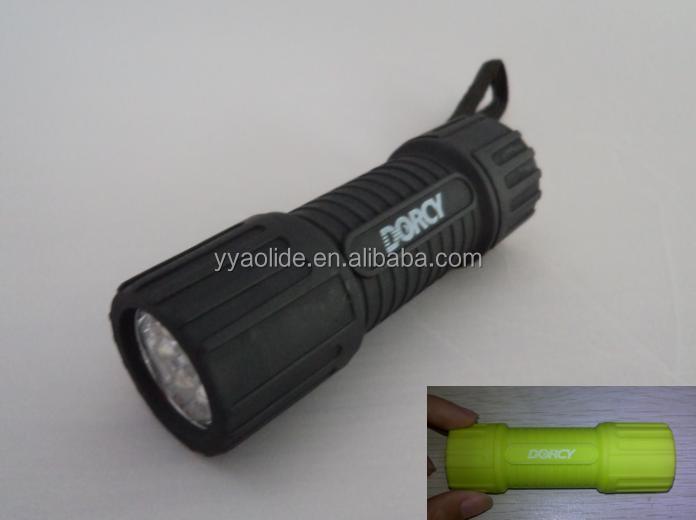 9 Led Plastic Rubber Flashlight 3aaa Dry Batteries Led Flashlight ...