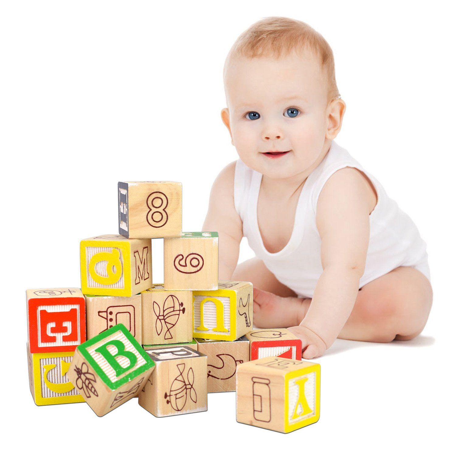 Buy Baztoy Wooden Building Blocks Toy Wood Alphabets Bricks Early