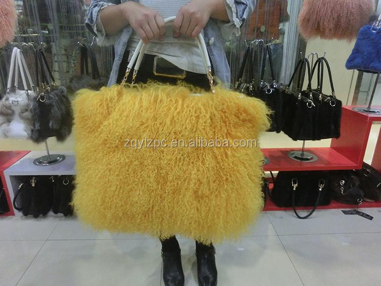 Mongolia Sheep Fur Handbag Genuine Lamb Fur Tote Bags