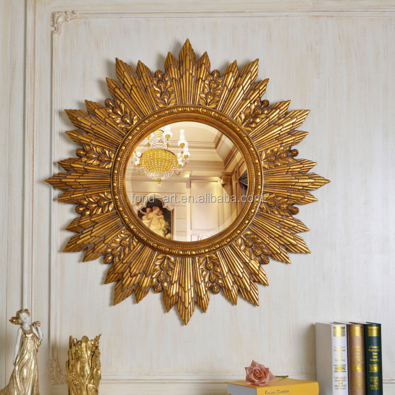 PU619 Antique Gold Decorative Hanging Wall Art Mirror Frames