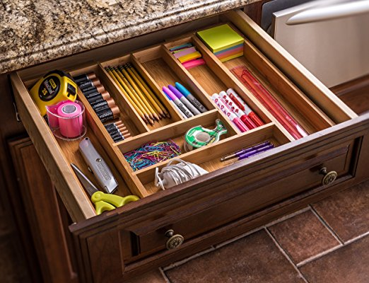 Premium Bamboo Expandable Drawer Organizer Cutlery And Utensil Caddy 7