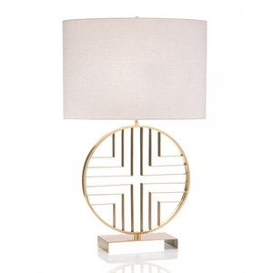 Small MOQ American Country Style Simple Elegant Decor Design Polished Brass Cross Shape Metal Table Lamp With Linen Shade