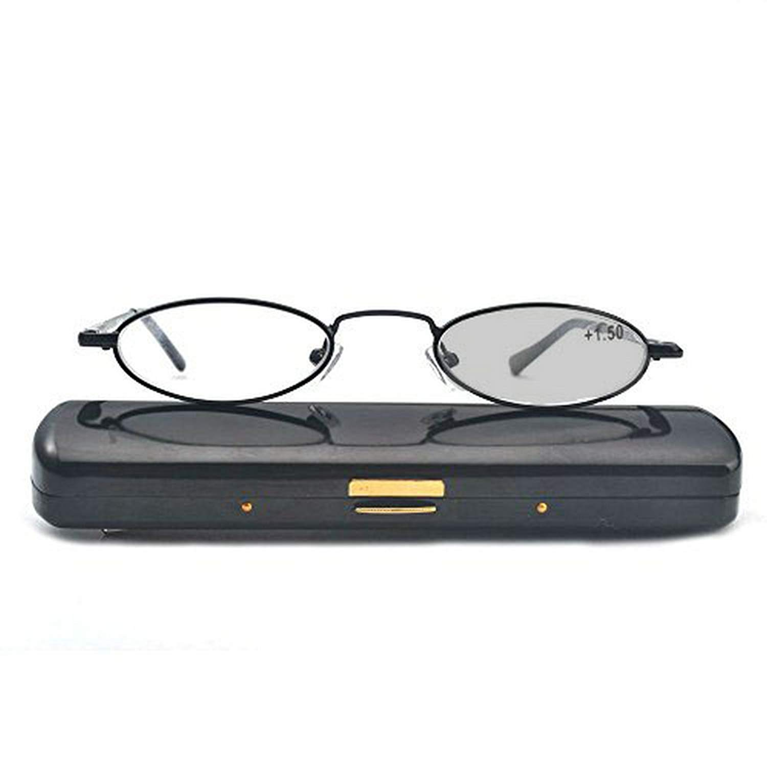 51c02c6991 MINCL Fashion Small Chic Oval Shape Reading Glasses for Unisex Black Frame