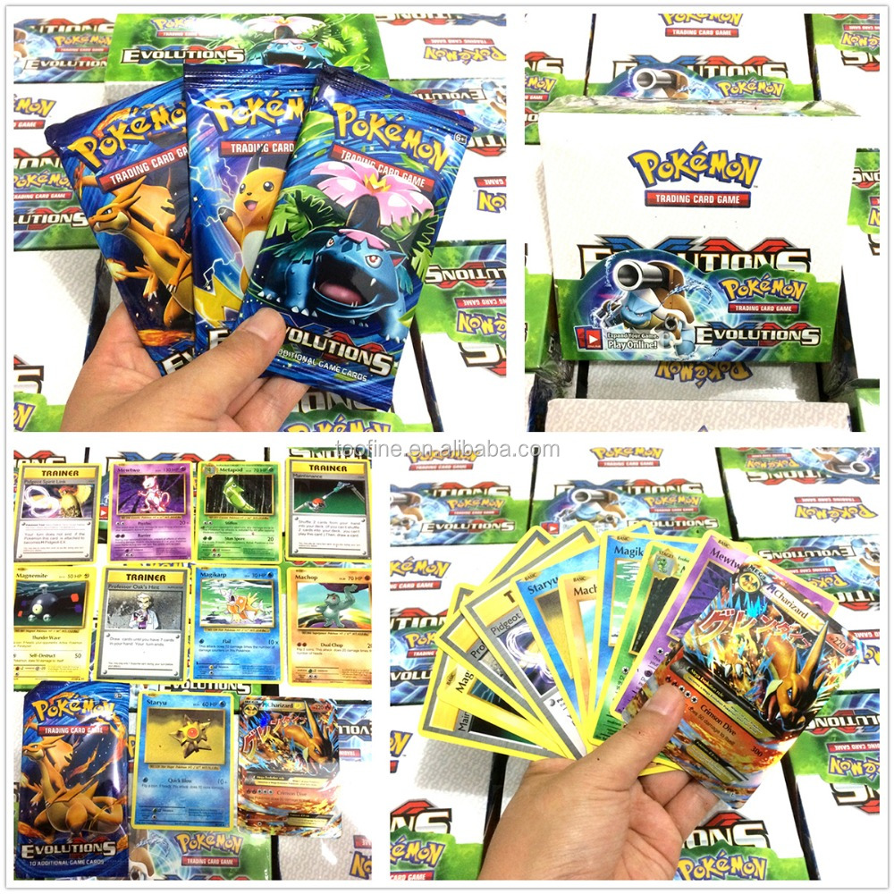 2017 hot sell game pokemon Evolution kid card games wholesale trading card