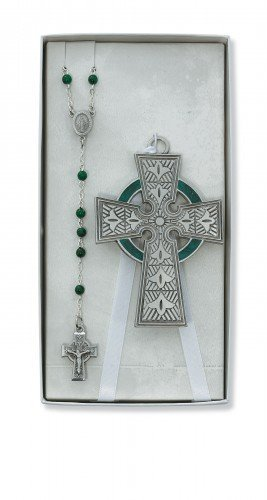 Celtic Crib Cross & Rosary Set Irish Celtic Claddagh Catholic Religious