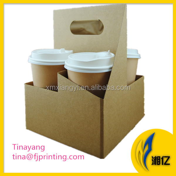 Disposable Kraft Paper Coffee Cup Carrier Cardboard Cup