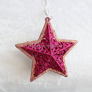 hot sale plastic hanging glitter star for christmas decoration