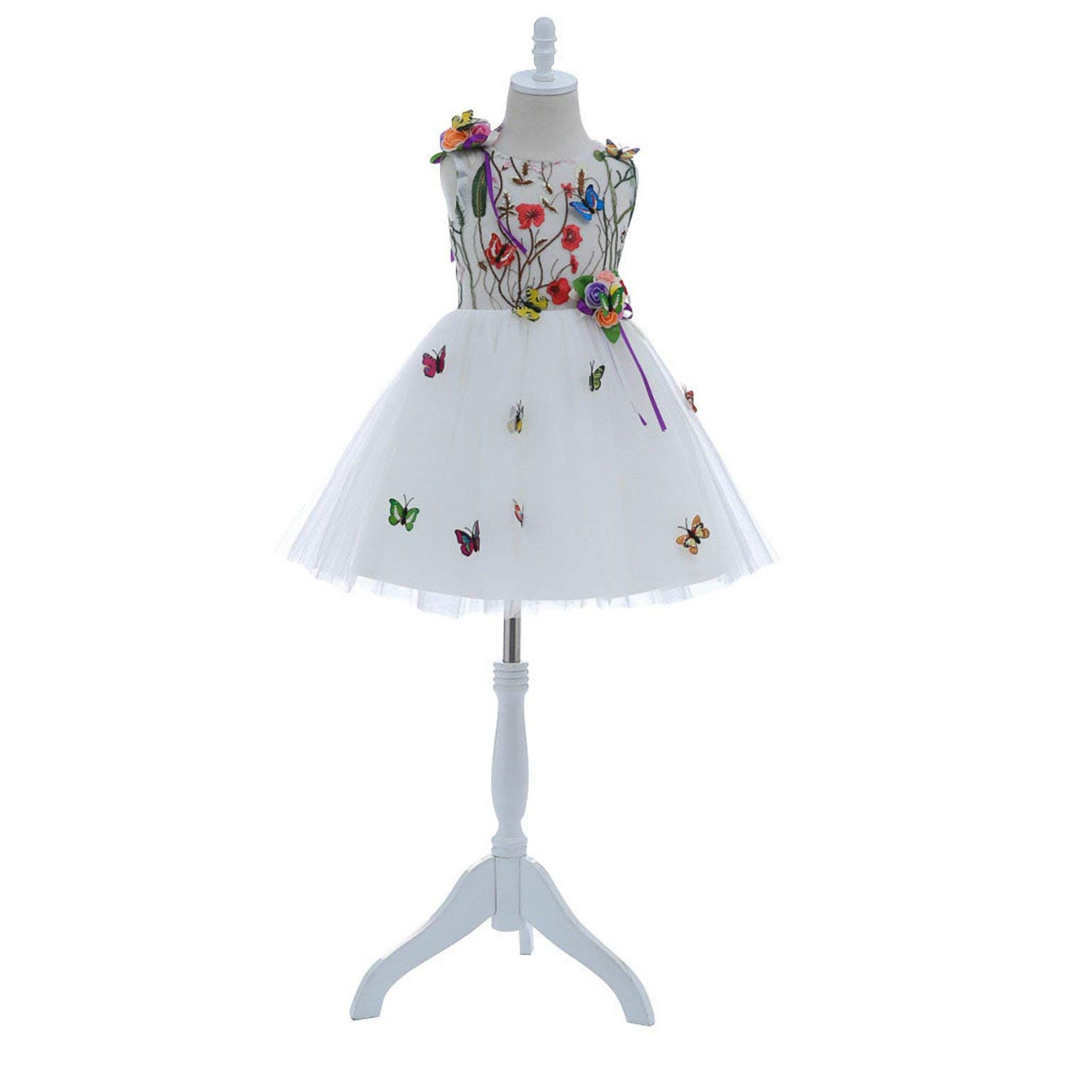1fc27f32b Get Quotations · ylovego Short Cute White Flower Flower Girls Dresses 2018  with Butterfly for Wedding Knee Length Kids