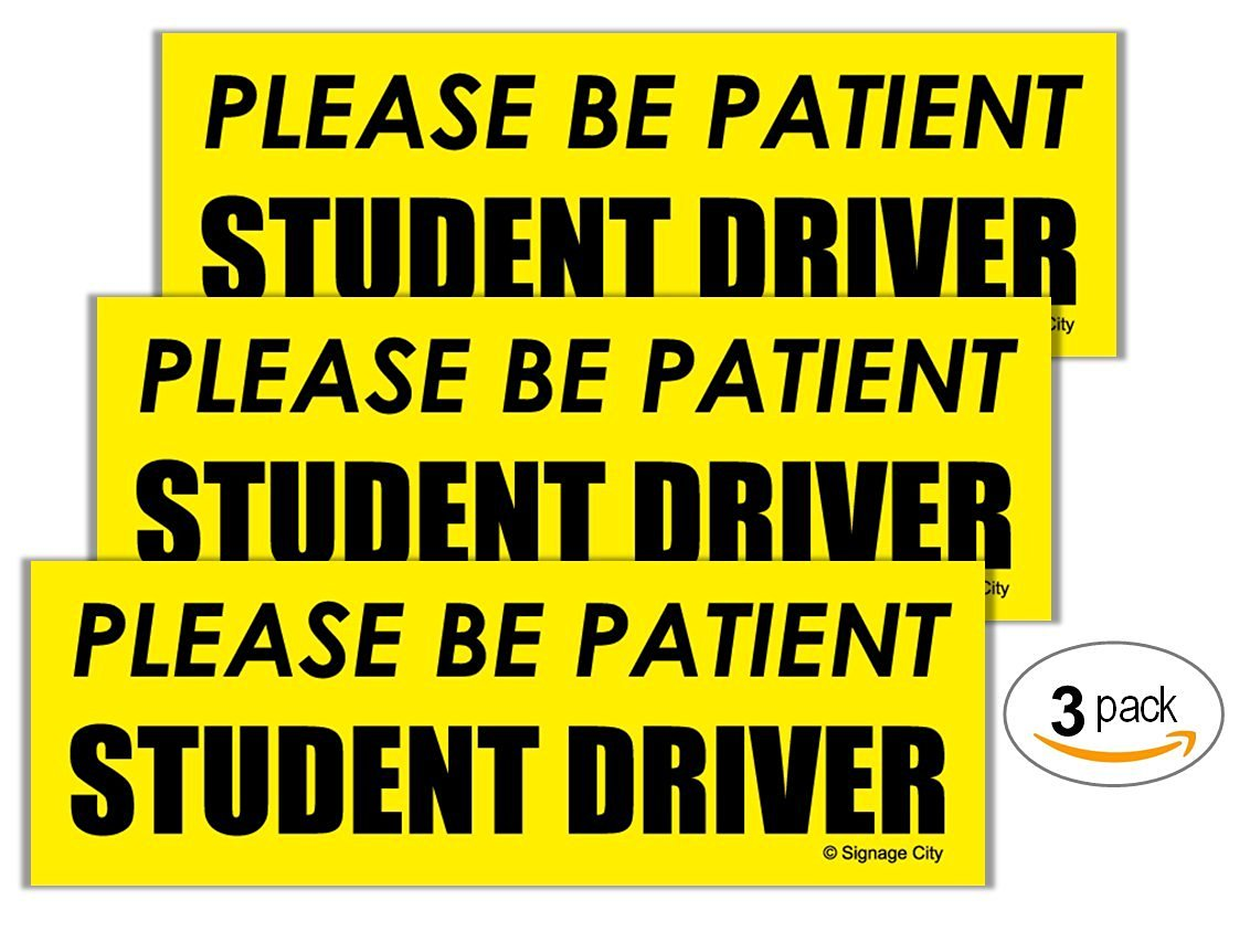 """Signage City™ New Student Driver Car Bumper Magnet - """"Please Be Patient"""" Premium Quality Visible Bright Yellow Auto Decal, Raising Awareness and Promoting Safety - 3 Pack"""