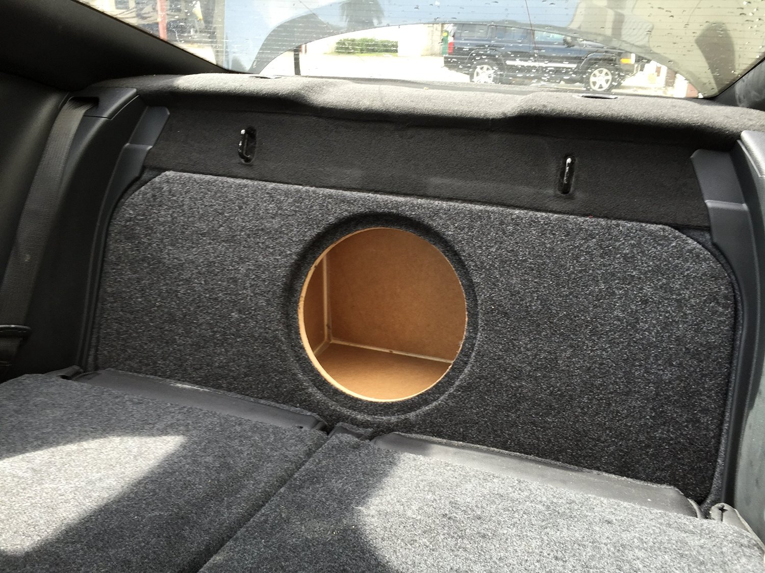 "Zenclosures 2015-2016 Mustang 1-10"" Subwoofer Box W/recessed Mounting Holes, FRONT FIRE - Charcoal, Version 2"