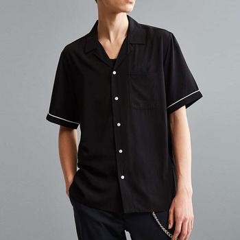 f1b03176 Korean Designer Pajamas Style Men Fashion Casual Loose Silk Short Sleeve  Shirt