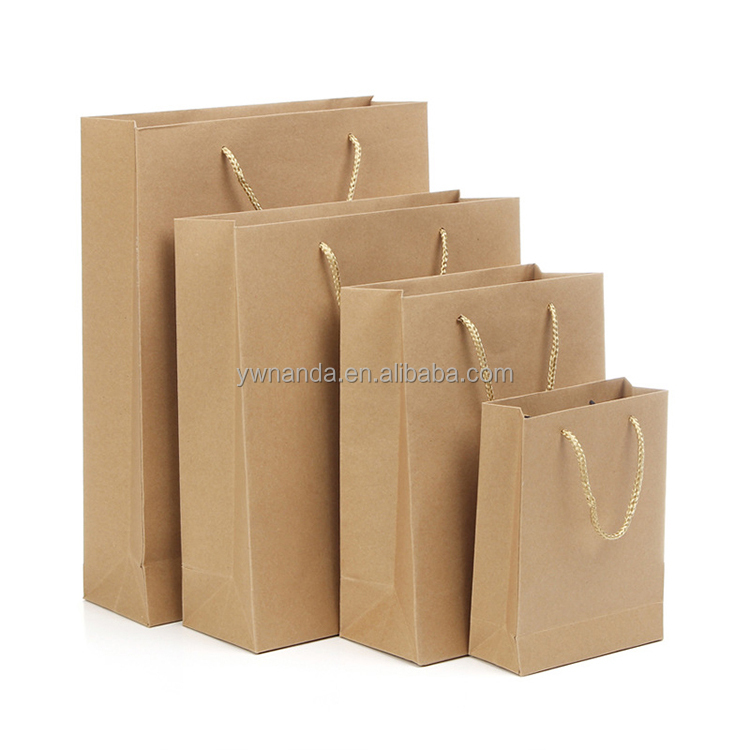Csutom hand kraft shopping clothes package paper bags with stereotyped rope handle