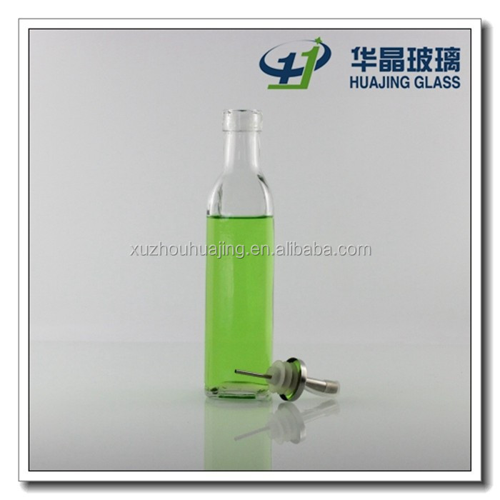 Square shape edible oil glass bottle 250ml glass bottle with lid