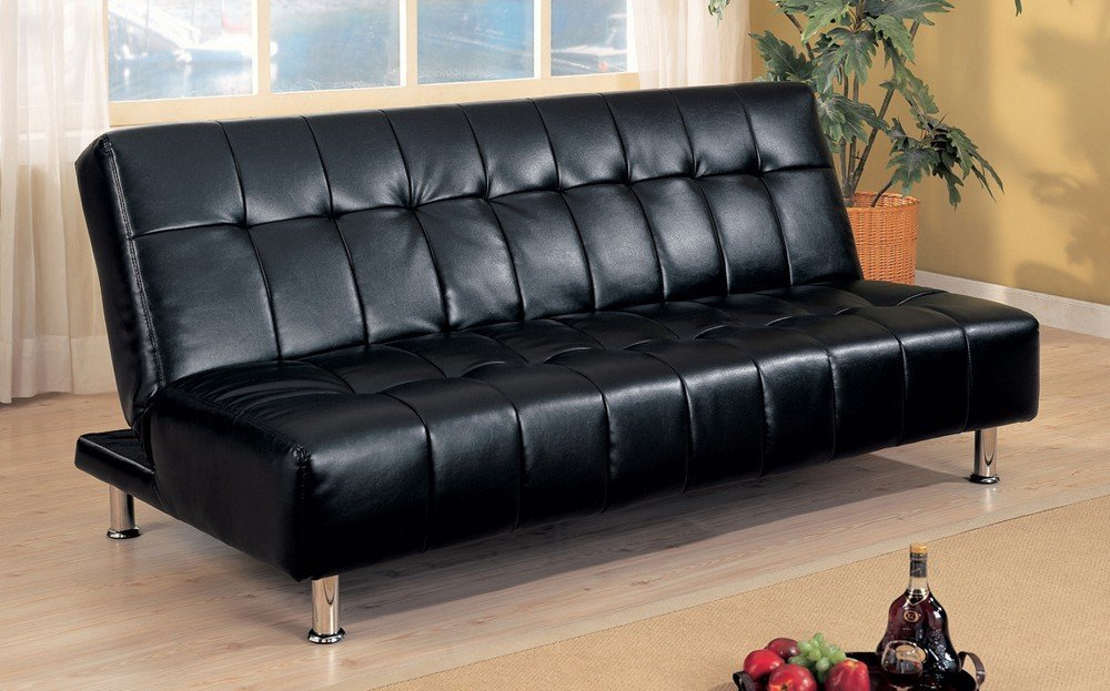 Removable Arm Rests Brown Vinyl 199 99 Coaster Contemporary Futon Sofa Bed With Metal Legs Black
