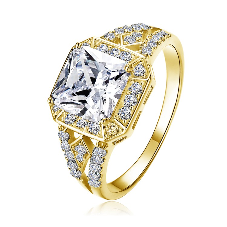 LZESHINE Gold Engagement Rings Platinum Plating Jewellery Rings Wholesale