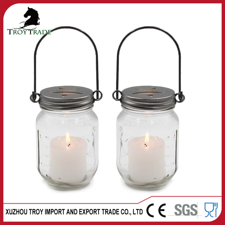 Square Glass Jar for Candle with Metal Lid