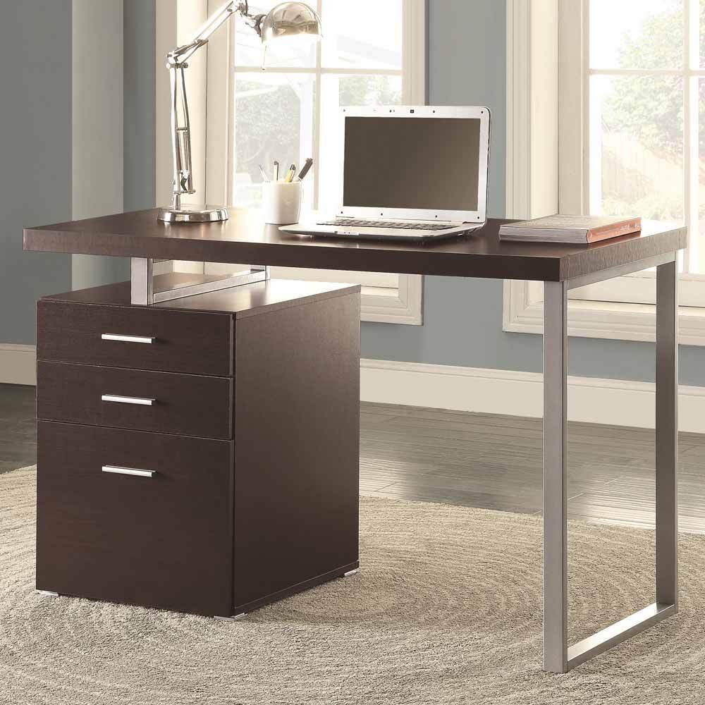 1PerfectChoice Contemporary Office Computer Writing Desk File Cabinet Reversible in Cappuccino