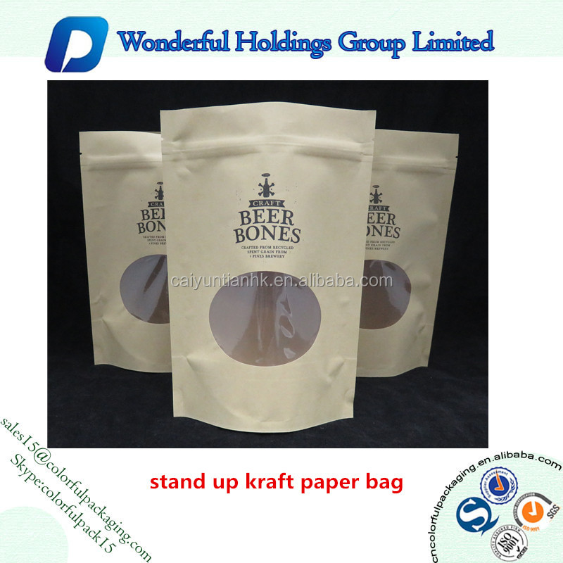 coffee or nuts packaging bag resealable doypack pouch kraft paper bag with window and zipper