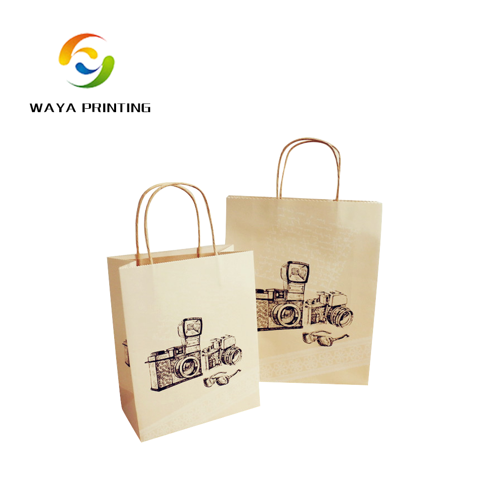 Black design logo custom brown twisted handle kraft paper bag china