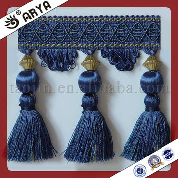 Navy Blue Woven Curtain Tassel And Beads Fabric Trims For Curtain ...