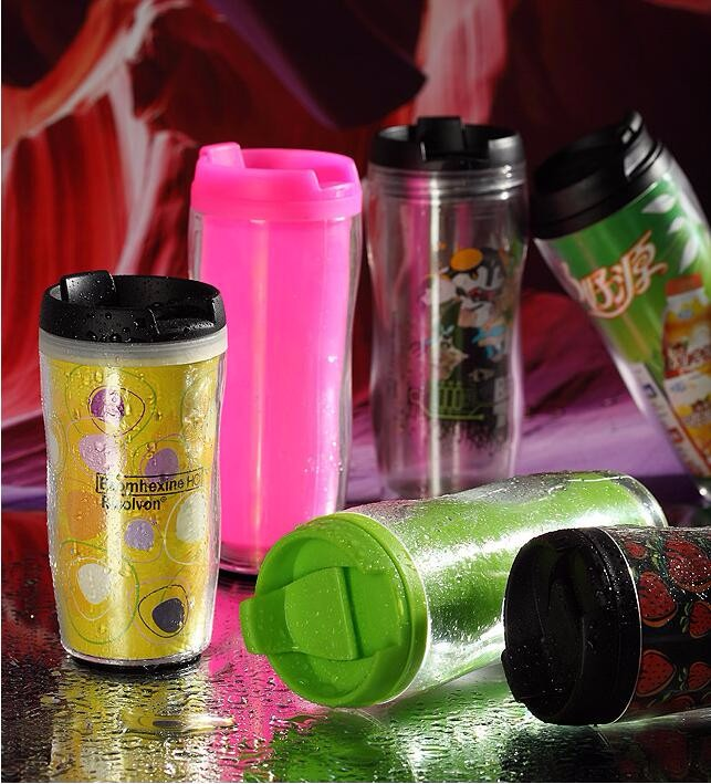 350ml insert paper tumbler, Plastic Double Insulated Cups with Paper Insert
