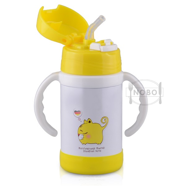 Kid small vacuum keep-warm bottle water bottle with Cartoon printing