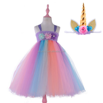 2524b103733e 2018 Baby Girl Party Fairy Dress Rainbow Dress Tutu Dress With ...