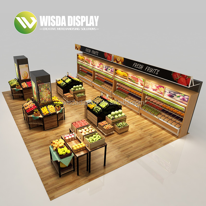 משלוח עיצוב מדפים בסופרמרקט פירות וירקות מתלה מדף stand wisda תצוגה