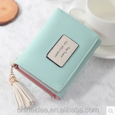 Professional soft surface PU leather wallet woman short with tassels