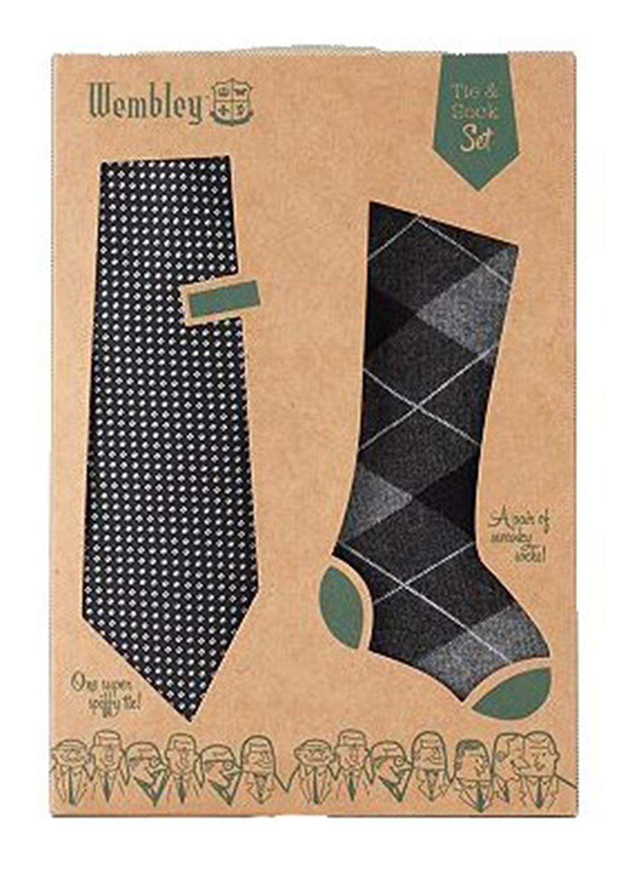 Stanley Lewis Mens Striped Tie /& Sock Set Navy Blue