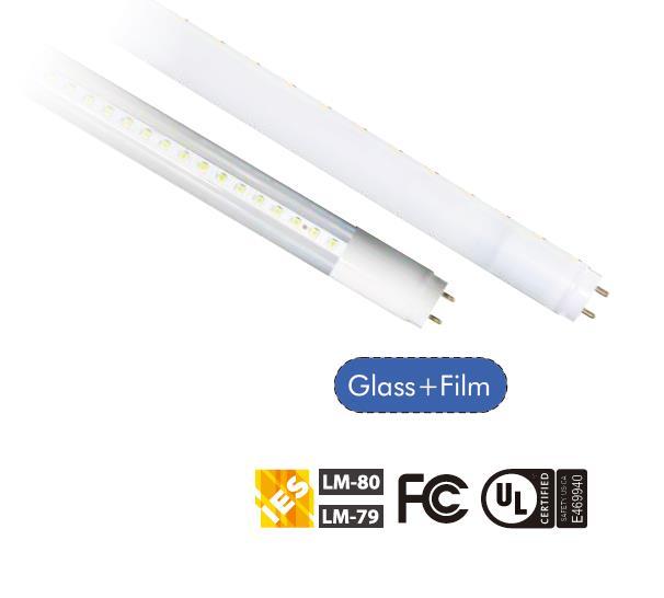 Hybrid T8 led tube 18W Glass and Film