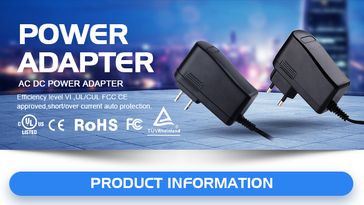 10v ac dc power adaptor with UL/CUL TUV CE FCC PSE ROHS CB SAA C-tick BIS level VI, 2 years warranty