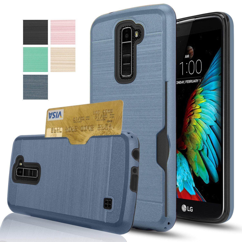 LG K10/Premier LTE Case,[K430/K420/K410],AnoKe [Credit Card Slots Holder][Not Wallet] Hard Plastic PC TPU Soft Hybrid Shockproof Heavy Duty Protective Holster Cover Case For LG K10 KC2 Metal Slate