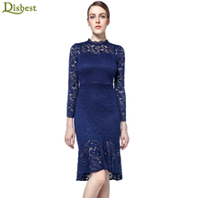 DISBEST Vintage Floral Long Sleeve Round Neck Bodycon Cocktail Party Evening Prom Lace Midi Flare Dress Women Clothing