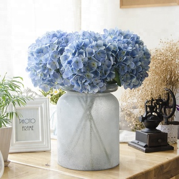 Wholesale artificial blue hydrangea silk flowers for wedding decoration