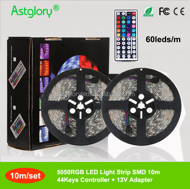 5050 <strong>RGB</strong> flexible Waterproof IP65 60leds/m LED Light Strip 12V 44keys Controller 10M light strip each set with box package