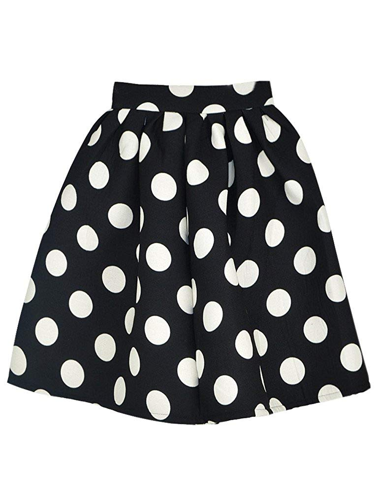 M PANDA SUPERSTORE Vintage Black Polka Dot Skirt Slim Knitted Skirt