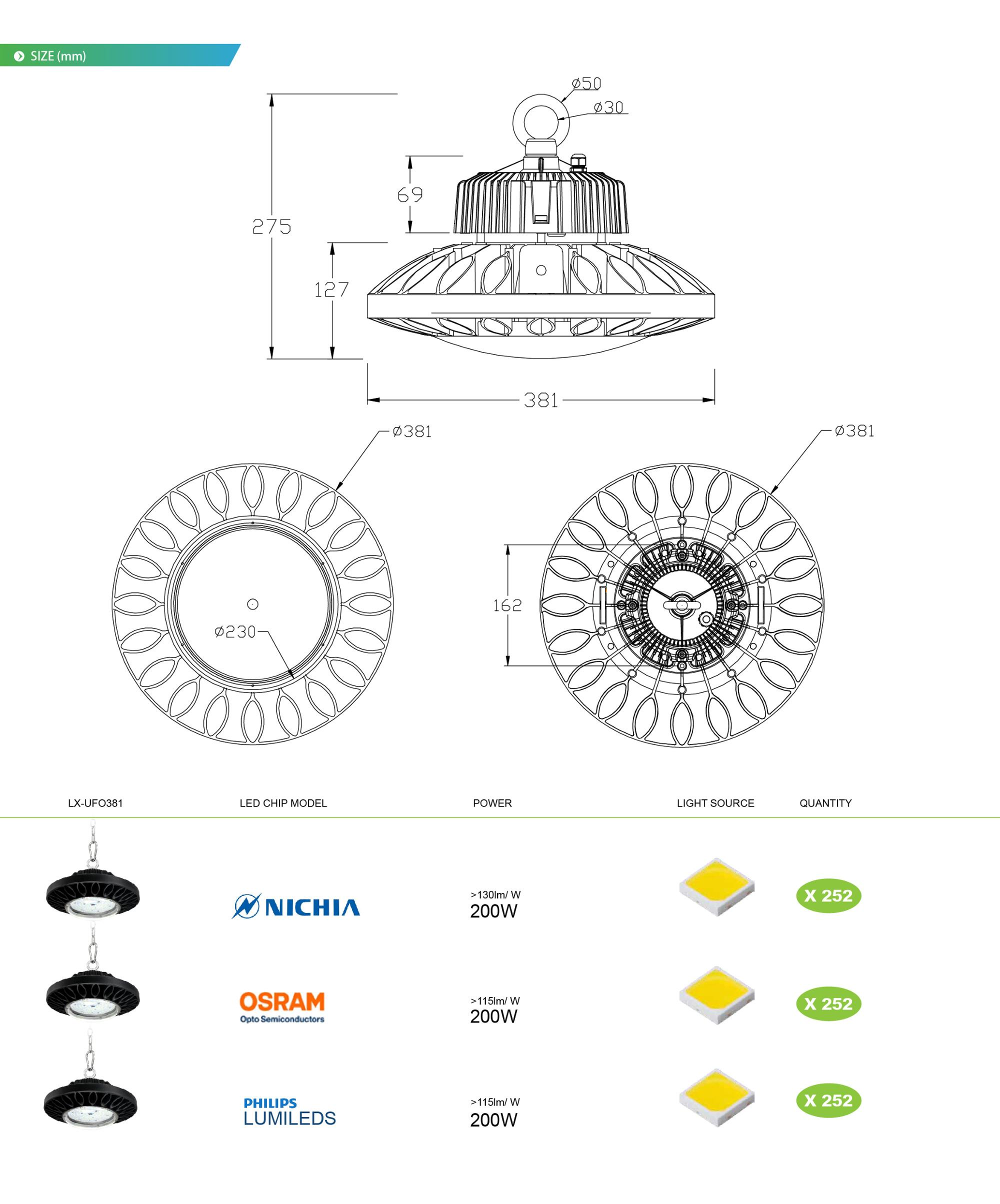 UFO meanwell cob 200w industrial IP65 led high bay light
