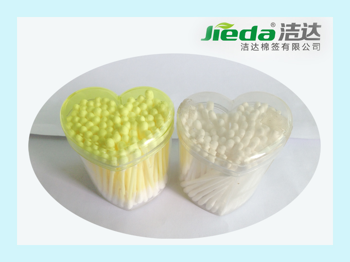 "Best selling product 3"" 100pcs/200pcs heart shape box for plastic colored cotton bud"